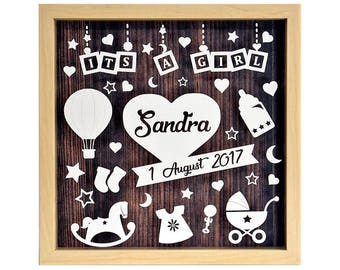 Its a Girl - Personalised Natural Shadow Box Frame - Newborn Gift