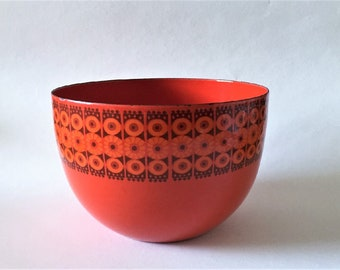 Kaj Franck Arabia Finel Enamel large red Bowl - Daisy pattern