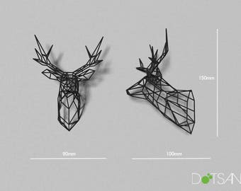 Black 3D Printed Stag Deer Trophy Head 150mm High