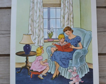Vintage Providence Lithograph Sunday School Family Reading Bible Stories Religion Print Art