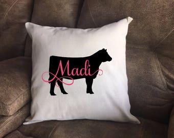 Show Heifer, Heifer Show, Personalized Pillow, Show Cattle, Cow Pillow, 4H Heifer, FFA Heifer, Farmhouse Pillow, Modern Farmhouse, Heifer