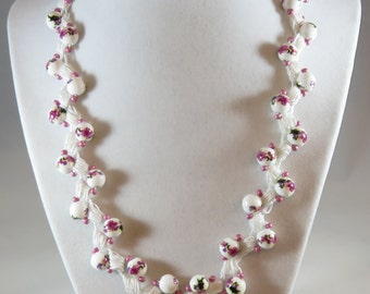 Painted bead crochet necklace