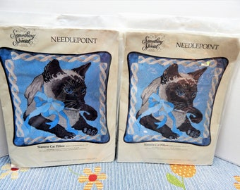 "Siamese Cat Pillow Kits Needlepoint Something Special Vintage 1989 14"" x 14""   NIP Sold Individually Mary's Neat Knits and Kits"