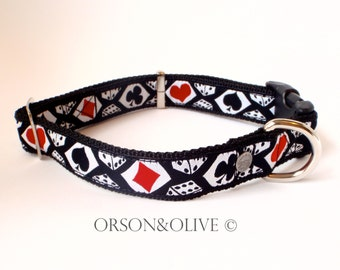 Las Vegas (Playing Card Dice Gambling) Dog Collar  - Available in 3 sizes (S, M, L)