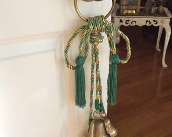 Vintage Brass Bells on Rope Door Knob Hanger Christmas Bells Green/Gold & Door knob tassel   Etsy
