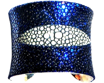 Sapphire Blue Metallic Stingray Leather Cuff Bracelet - by UNEARTHED