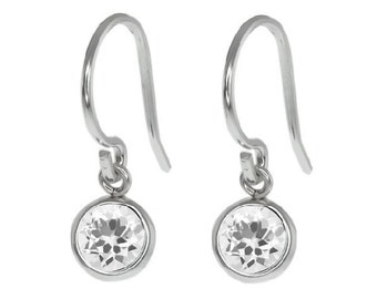 White Gold 1 Carat White Sapphire Bezel Round Dangle Earrings .925 Sterling Silver Rhodium Finish