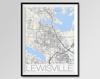Lewisville map Etsy