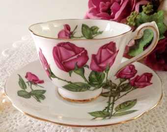 "Royal Standard China Tea Cup & Saucer Blue ""Three Red Roses"" Pattern"