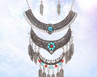 Elegant Turquoise necklace jewelry Feather necklace statement necklace Gypsy Boho jewelry Ethnic Necklace Tribal Necklace Earrings silver