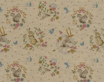 Japanese Cotton Fabric - Forest Friends on Dark Beige - Half Yard