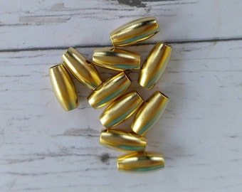 Spacer Beads//  Gold Metal Beads// Gold Tube Beads// Jewellery Findings// 2.5mm Hole// 10 pieces
