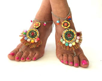 "Native America"" Barefoot Sandals, Barefoot Beach Jewelry, gemstones, Hippie Sandals, Foot Jewelry, Toe Thong, festival accessories for feet,"