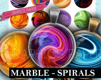 "Circles Marbles Colored Round images - digital collage sheet - td254 - 1.5"", 1.25"", 30mm, 1 inch circles - Printable Images - Bottle caps"