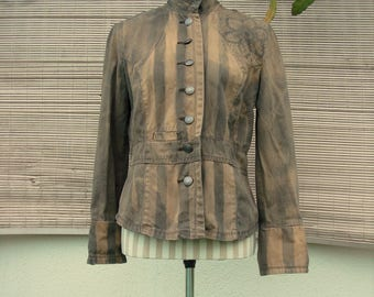 wasteland military jacket / women's striped post apocalyptic outerwear distressed & bleached size medium M