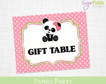 Panda Gift Table Sign, Gift Table Sign printable, Gift Table Sign, Panda Party Printable, Panda Party Decorations
