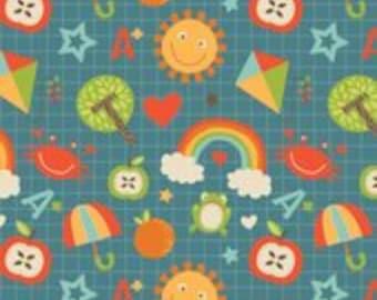 Riley Blake - Fabric by the HALF yard - School Days - Main Blue