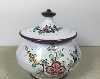 Sugar Bowl, Ceramic Sugar bowl, Flowered sugar bowl, Cute sugar bowl, shabby chic sugar bowl