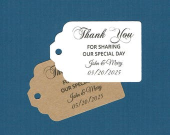 Wedding Tags, Printed Tags, Set of 50, Wedding Shower Tags, Tags, Wedding Favor, Thank You Tag