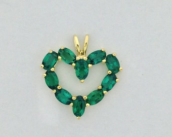 Created Emerald Heart Pendant 925 Sterling Silver Gold Plated