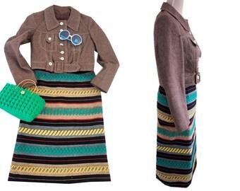Vintage loom skirt 70s. 70s boho skirt. Ethnic style loom skirt. XS vintage skirt.