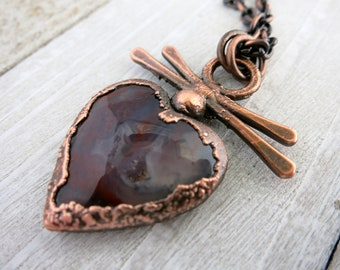 Red Agate Heart & Copper Necklace, Natural Druzy Stone,  Unique Handmade Pendant and Chain