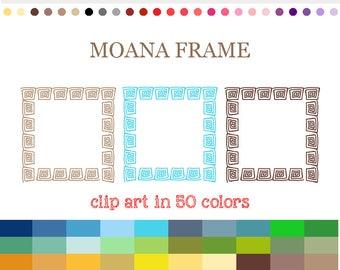 50 Colors Digital MOANA FRAME Clipart Digital Square Frame Clipart Frames and Borders Label Clipart Digital Labels For Jars Frames #C060