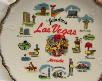 "Las Vegas Collectible Plate 8"" Diameter, Fabulous Las Vegas Nevada With Gold Trimmed Edge, and Decorative Patterns Around Border"