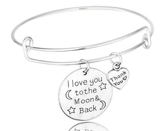 I Love You To The Moon and Back Bangle Bracelet
