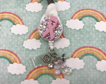 Pink Ribbon Breast Cancer Awareness Beaded Angel Charm Badge Reel Retractable Lanyard Cord Work ID Holder Nurse CNA RN Technician Crystal