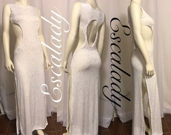 White with gold double sided slit dress