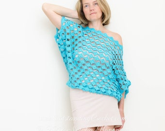 Off Shoulder Top Crochet PATTERN - Seaside - Women, Plus size, Summer, Seamless, Boat Neck, Drop Shoulder, Slouchy, Oversized Fit - PDF