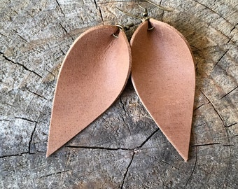 Leather Earrings, Bridesmaid Earrings, Leather Leaf Earrings, Western Wedding, Western Earrings, You Choose Color