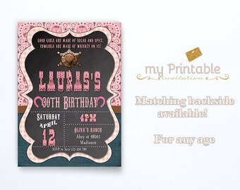 Cowgirl Adult Invitation / Digital Printable Birthday Invite for Girls / Western Style / DIY Party