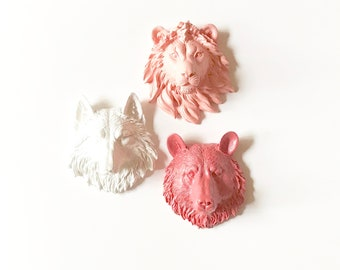 Set of 3, SMALL Faux Taxidermy, Faux Animal Head, Faux Taxidermy, Animal Sets, Mini Animal Heads, Small Animal Wall Mount, Safari wall decor