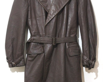 Brown Leather Coat WW II, Vintage Leather Trench Coat, Leather Coat  WWII era 1940s
