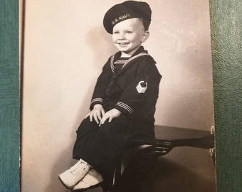 Vintage Black and White Photography Photograph Child WWII US Navy Uniform