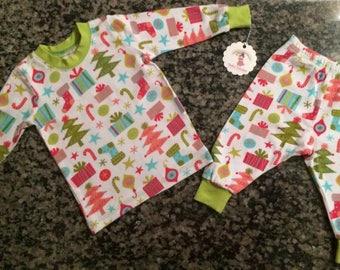 christmas pajamas - 6/12 month - baby holiday pjs - infant sleep set - holiday set -presents set -soft baby pajamas - christmas tree set