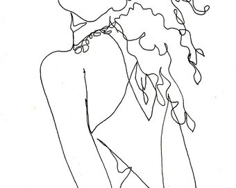Art  Pen and Ink Drawing Fashion Woman with Curly Hair Glamorous Print