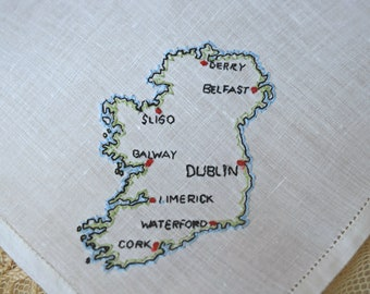 White  Ireland 1950's Vintage Handkerchief Embroidery Map Design Women's Hankie Accessory Wedding Bridal Borrowed Sewing