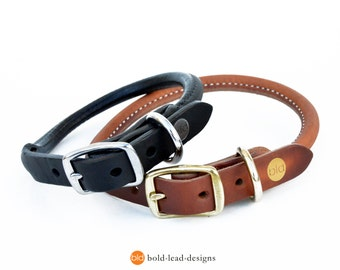 BLD's Rolled Leather Dog Collar - Premium quality in Black or Tan