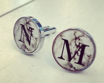 Marble initial cufflinks black and white mens gift metal