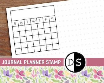 "Monthly Calendar Stamp, Task Planner Stamp, Goal Habit Tracker, Organisation Stationery, Acrylic Block Mounted Stamp, 2""x2"" (txt40)"