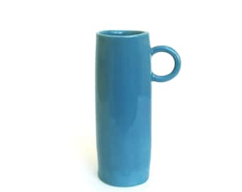 whimsical  hand built  porcelain cup  ...   teal