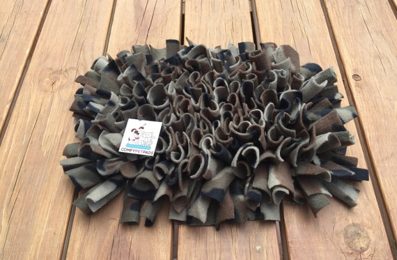 Camo Pet Stimulation Snuffle Mat, Nose Work Mat, Rooting Rug, Pig Enrichment Toy, Finished size 16x11, Washable