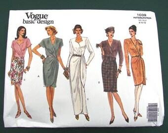 Vogue Pattern #1039 Misses Mock Wrap Dress Size 8-12 Uncut