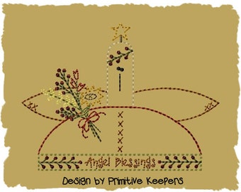 Primitive Machine Embroidery Design-Angel Blessings--Version 2- (5 x 7) INSTANT DOWNLOAD