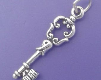 SKELETON KEY Charm .925 Sterling Silver Realtor Pendant - lp2996