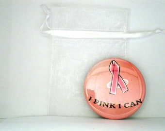 I Pink I Can Breast Cancer Awareness 2 1/4 inch Pocket Mirror