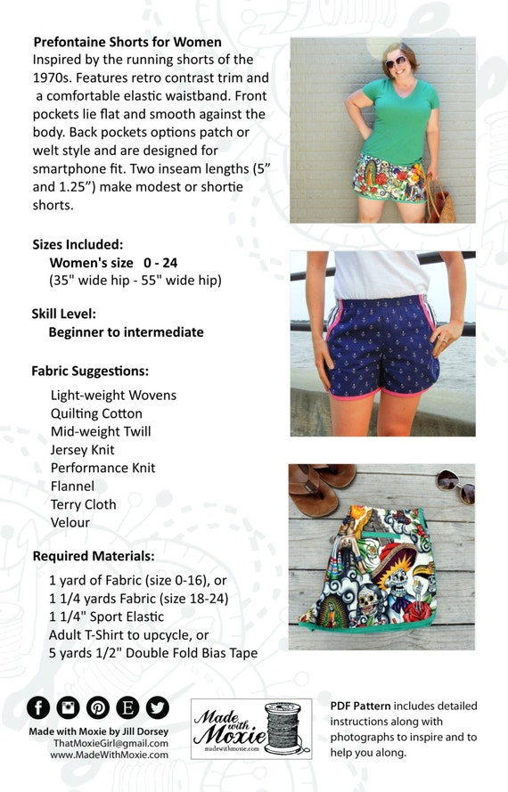 Prefontaine Shorts for Women PDF Sewing Pattern